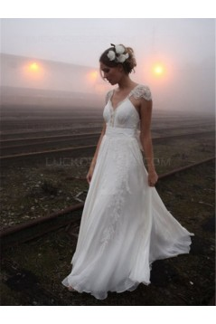 Cap Sleeves Lace Chiffon Backless Wedding Dresses Bridal Gowns 3030158