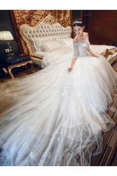 Lace Tulle Off-the-Shoulder Wedding Dresses Bridal Gowns 3030164