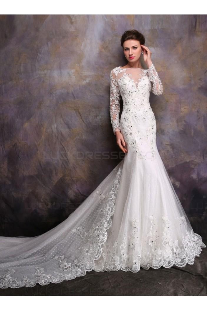 Long Sleeves Crystal Mermaid Lace Wedding Dresses Bridal Gowns 3030165