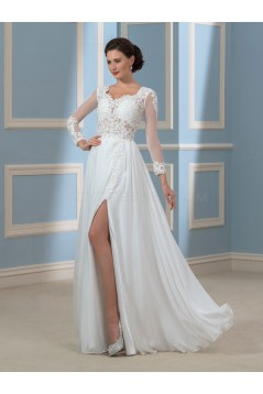 Long Sleeves Lace Chiffon Wedding Dresses Bridal Gowns 3030169