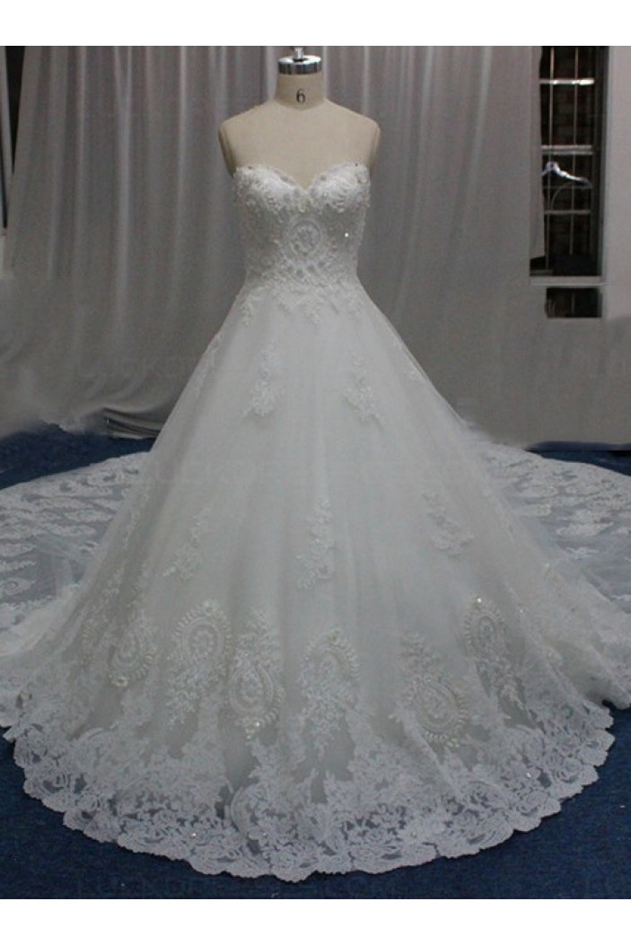 A-Line Sweetheart Lace Wedding Dresses Bridal Gowns 3030171