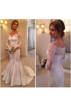 Mermaid 3/4 Length Sleeves Lace Wedding Dresses Bridal Gowns 3030172
