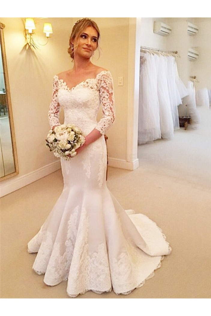 Mermaid 3/4 Length Sleeves Lace Wedding Dresses Bridal Gowns 3030172