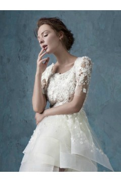 High Low Short Sleeves Lace Tulle Wedding Dresses Bridal Gowns 3030173