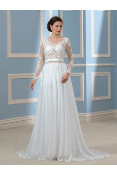 A-Line Lace Chiffon Backless Long Sleeves Wedding Dresses Bridal Gowns 3030176