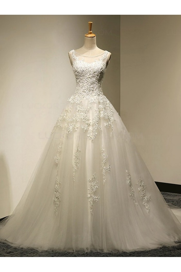 A-Line Sleeveless Tulle Lace Wedding Dresses Bridal Gowns 3030177