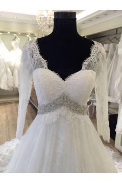 A-Line V-Neck Lace Wedding Dresses Bridal Gowns 3030179