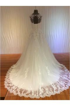 A-Line Illusion Neckline Lace Wedding Dresses Bridal Gowns 3030180