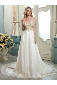 A-Line Spaghetti Straps Lace Wedding Dresses Bridal Gowns 3030181