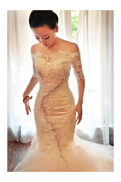 Mermaid Lace Off-the-Shoulder Wedding Dresses Bridal Gowns 3030184