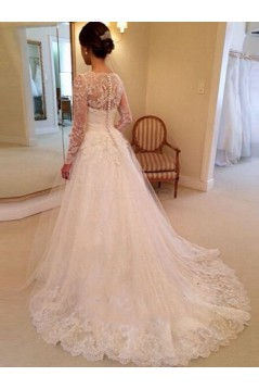Long Sleeves V-Neck Lace Wedding Dresses Bridal Gowns 3030185