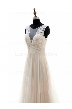 A-Line Sheer Lace Wedding Dresses Bridal Gowns 3030186