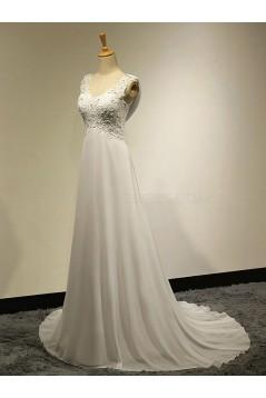 A-Line V-Neck Lace Chiffon Wedding Dresses Bridal Gowns 3030188