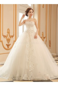 Ball Gown Strapless Lace Crystal Wedding Dresses Bridal Gowns 3030197
