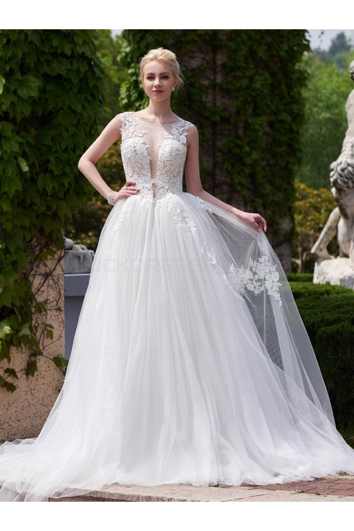 Lace Tulle Sheer Wedding Dresses Bridal Gowns 3030198
