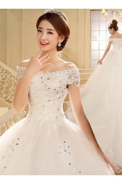 Ball Gown Off-the-Shoulder Lace Crystal Wedding Dresses Bridal Gowns 3030201