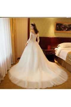 A-Line Off-the-Shoulder Long Sleeves Lace Wedding Dresses Bridal Gowns 3030205