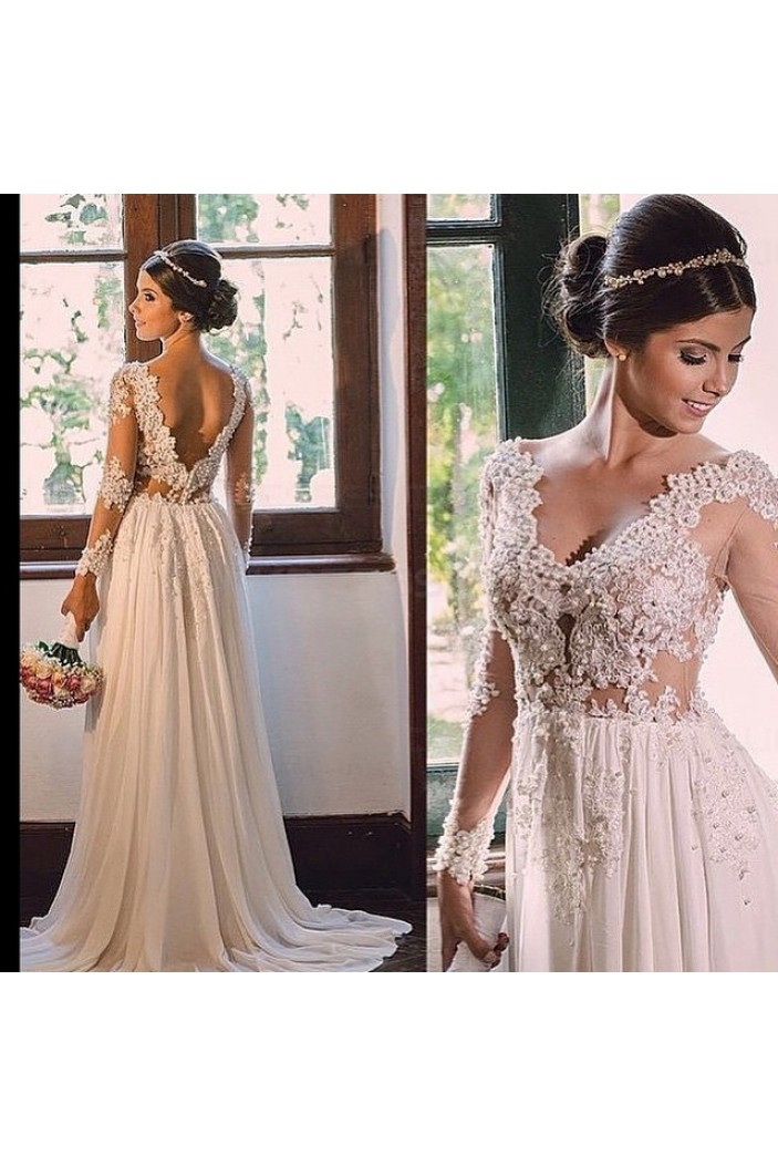 Sexy Long Sleeves V-Neck Lace Chiffon Wedding Dresses Bridal Gowns 3030209