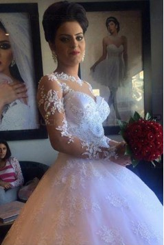 Long Sleeves Illusion Neckline Lace Wedding Dresses Bridal Gowns 3030215