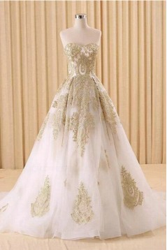 A-Line Sweetheart Gold Lace Appliques Wedding Dresses Bridal Gowns 3030216