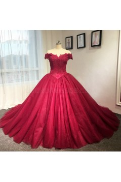 Red Off-the-Shoulder Lace Wedding Dresses Bridal Gowns 3030218
