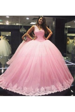 Pink Lace V-Neck Wedding Dresses Bridal Gowns 3030219