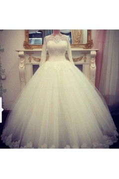 Lace Ball Gown 3/4 Length Sleeves Wedding Dresses Bridal Gowns 3030220