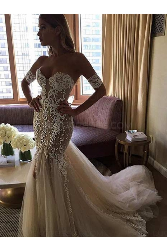 Sexy Off-the-Shoulder Mermaid Sweetheart Lace Wedding Dresses Bridal Gowns 3030221