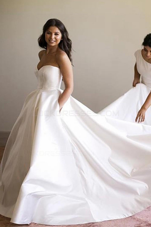Ball Gown Sweetheart Simple Elegant Wedding Dresses Bridal Gowns 3030222,Wedding Flower Girl Dresses Blue