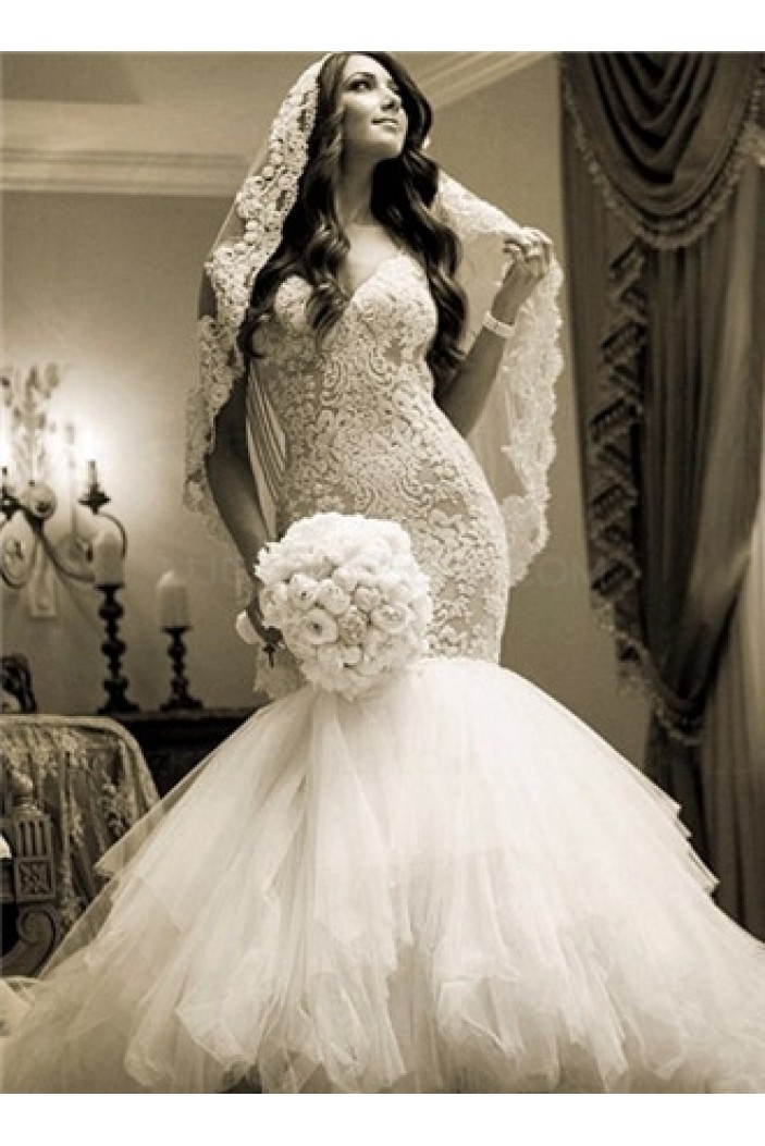 Lace Tulle Mermaid Sweetheart Wedding Dresses Bridal Gowns 3030226