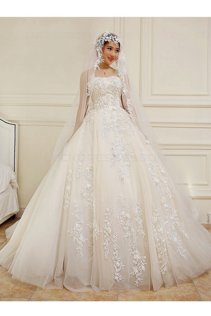 Ball Gown Strapless Lace Wedding Dresses Bridal Gowns 3030228