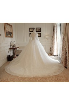 Ball Gown Lace Long Sleeves V-Neck Wedding Dresses Bridal Gowns 3030231