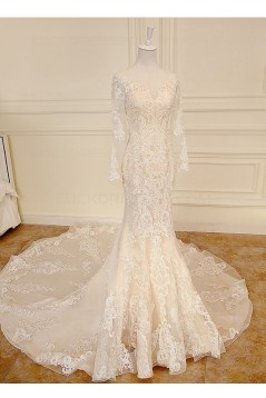 Mermaid Long Sleeves Sheer Lace Wedding Dresses Bridal Gowns 3030232