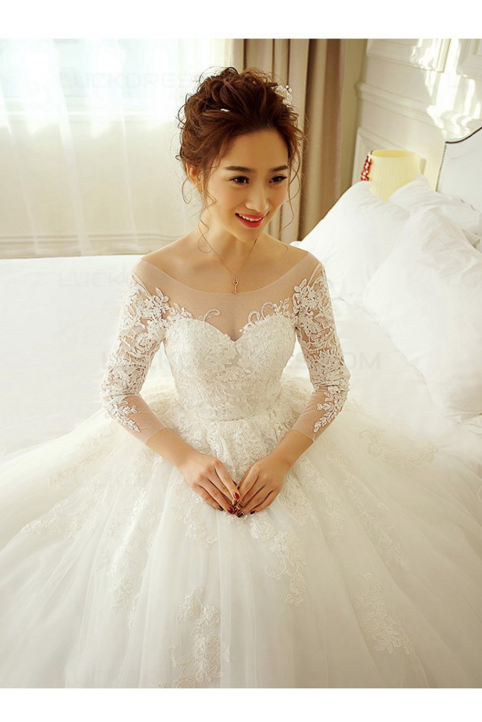 Ball Gown Long Sleeves Lace Wedding Dresses Bridal Gowns 3030234