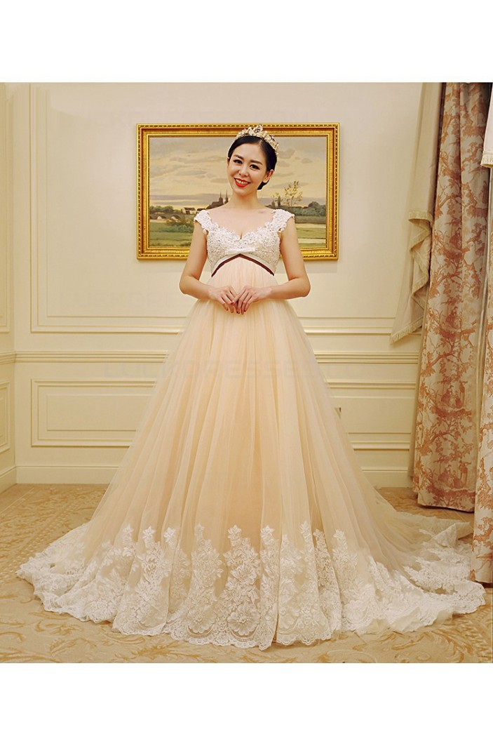 Empire Lace Tulle Straps Sleeveless Maternity Wedding Dresses Bridal Gowns 3030235