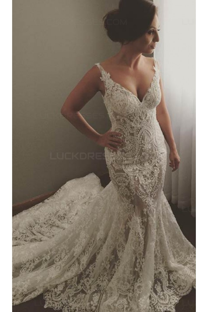 Sexy V-Neck Mermaid Lace Wedding Dresses Bridal Gowns 3030240