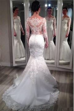 Long Sleeves Lace Mermaid Wedding Dresses Bridal Gowns 3030244
