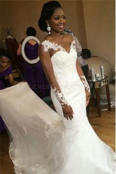 Long Sleeves Lace Mermaid Sheer Wedding Dresses Bridal Gowns 3030245