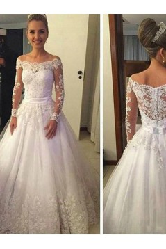 A-Line Long Sleeves Off-the-Shoulder Lace Wedding Dresses Bridal Gowns 3030249