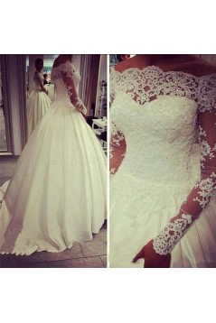 Ball Gown Long Sleeves Off-the-Shoulder Lace Wedding Dresses Bridal Gowns 3030251