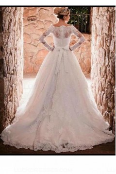 A-Line Long Sleeves Off-the-Shoulder Lace Wedding Dresses Bridal Gowns 3030252