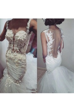 Lace Mermaid Sheer Wedding Dresses Bridal Gowns 3030254