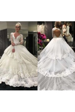 Long Sleeves Lace V-Neck Keyhole Back Wedding Dresses Bridal Gowns 3030258