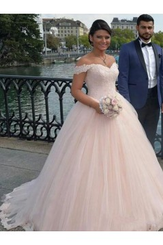 Ball Gown Off-the-Shoulder Lace Tulle Wedding Dresses Bridal Gowns 3030259