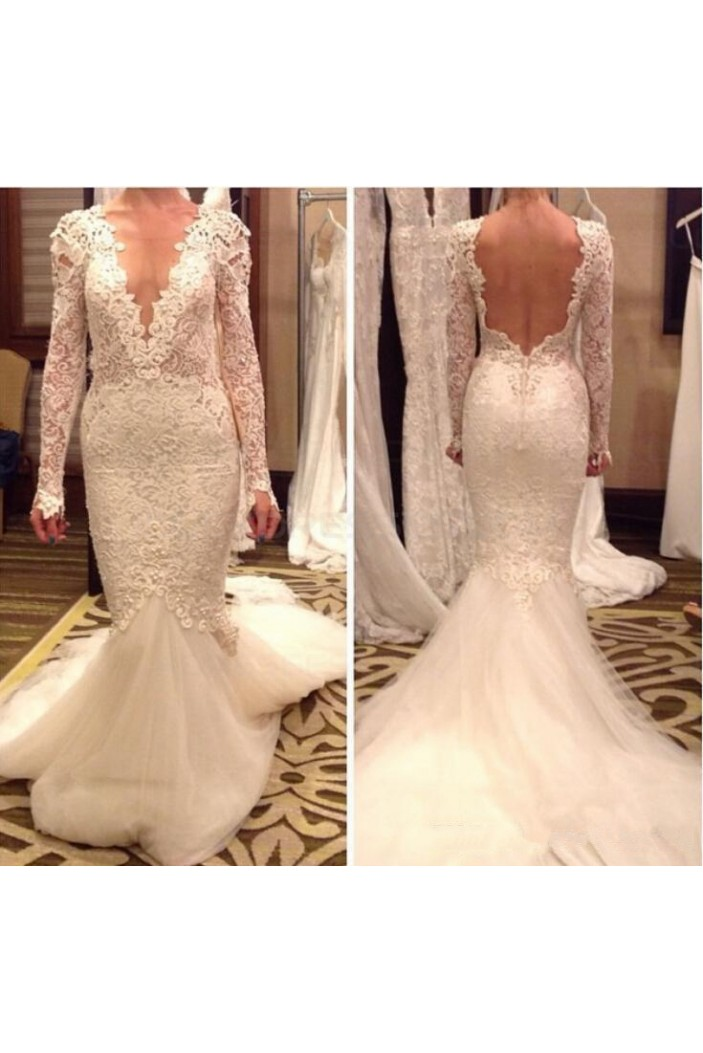 Sexy Long Sleeves Low V-Neck Open Back Wedding Dresses Bridal Gowns 3030260