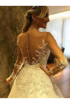 A-Line Long Sleeves Lace Sheer Wedding Dresses Bridal Gowns 3030262