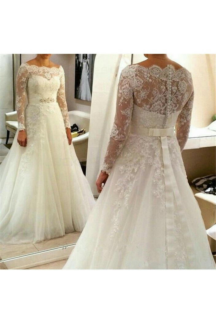 A-Line Long Sleeves Lace Off the Shoulder Wedding Dresses Bridal Gowns 3030263