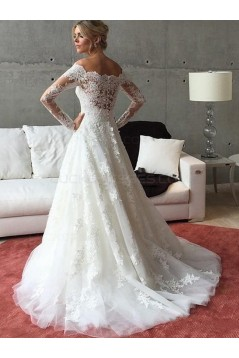 A-Line Long Sleeves Lace Off the Shoulder Wedding Dresses Bridal Gowns 3030264