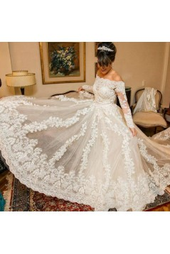 A-Line Long Sleeves Lace Off the Shoulder Wedding Dresses Bridal Gowns 3030265
