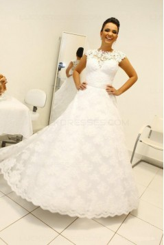 A-Line Jewel Neckline Lace Sleeveless Wedding Dresses Bridal Gowns 3030266